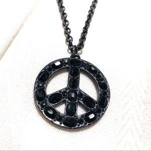 EUC Coach Rhinestone Embellished Peace Necklace